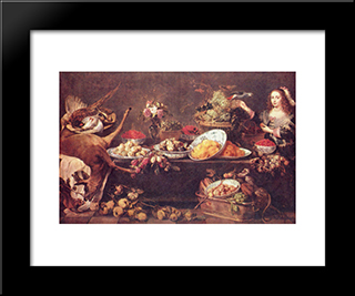 Large Still Life With A Lady And Parrot: Modern Black Framed Art Print by Frans Snyders