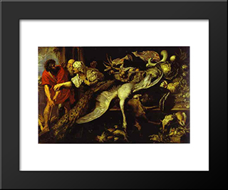 Philomenes Recognized By The Old Woman: Modern Black Framed Art Print by Frans Snyders