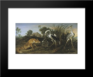 Sable Of The Fox And The Heron: Modern Black Framed Art Print by Frans Snyders