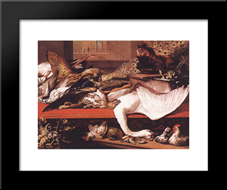 Still Life: Modern Black Framed Art Print by Frans Snyders