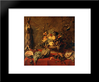 Still Life Of Fruit In A Basket: Modern Black Framed Art Print by Frans Snyders