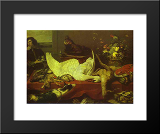 Still Life Of Game And Shellfish: Modern Black Framed Art Print by Frans Snyders