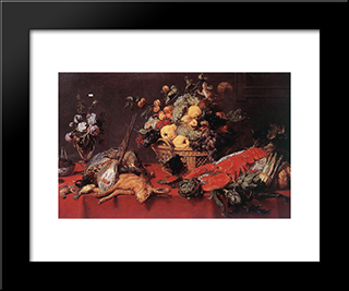 Still Life With A Basket Of Fruit: Modern Black Framed Art Print by Frans Snyders