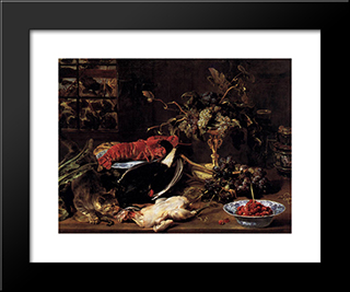 Still Life With Crab, Poultry, And Fruit: Modern Black Framed Art Print by Frans Snyders