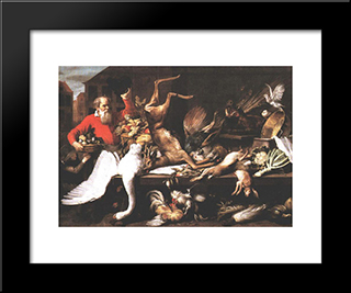 Still Life With Dead Game Fruits And Vegetables In A Market: Modern Black Framed Art Print by Frans Snyders