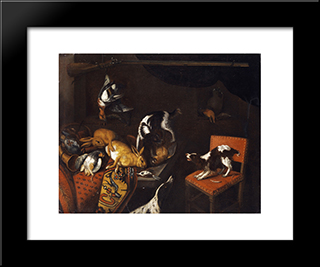 Still Life With Dead Hares And Birds, Armchair, Hounds, Hunting Gun: Modern Black Framed Art Print by Frans Snyders