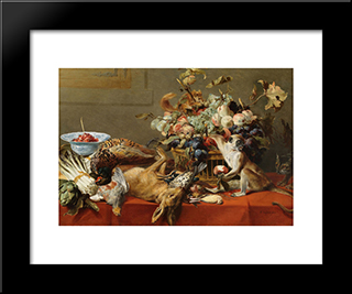 Still Life With Fruit, Dead Game, Vegetables, A Live Monkey, Squirrel And Cat: Modern Black Framed Art Print by Frans Snyders