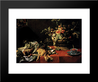Still Life With Fruit Basket And Game: Modern Black Framed Art Print by Frans Snyders