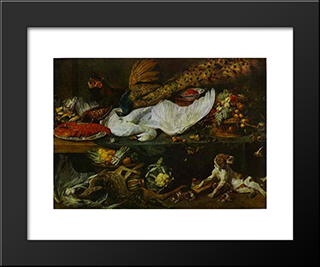 Still-Life With A Dog And Her Puppies: Modern Black Framed Art Print by Frans Snyders
