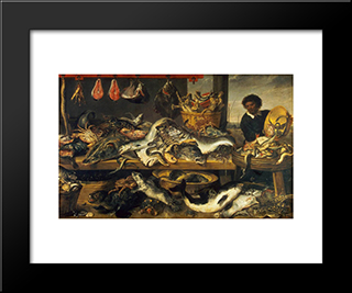 The Fish Market: Modern Black Framed Art Print by Frans Snyders