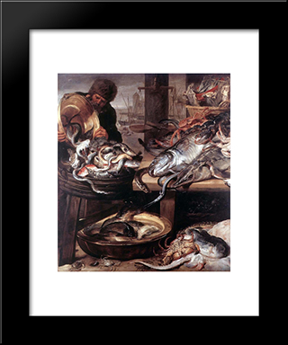 The Fishmonger: Modern Black Framed Art Print by Frans Snyders