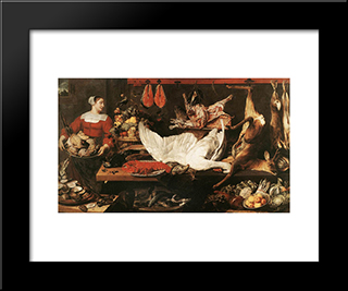 The Pantry: Modern Black Framed Art Print by Frans Snyders