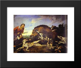 The Wild Boar Hunt: Modern Black Framed Art Print by Frans Snyders