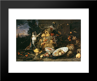 Three Monkeys Stealing Fruit: Modern Black Framed Art Print by Frans Snyders