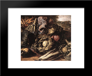 Vegetable Still Life: Modern Black Framed Art Print by Frans Snyders