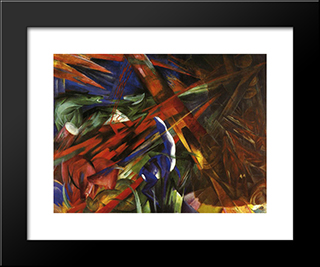 Animal Destinies (The Trees Show Their Rings, The Animals Their Veins): Modern Black Framed Art Print by Franz Marc