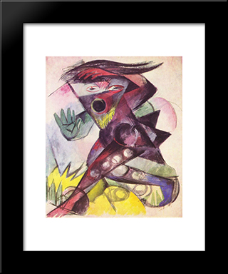 Caliban (From Shakespeare'S The Tempest): Modern Black Framed Art Print by Franz Marc