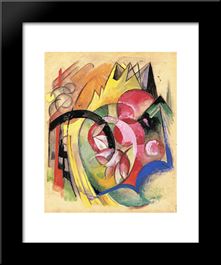 Coloful Flowers (Abstract Forms): Modern Black Framed Art Print by Franz Marc