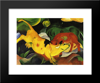 Cows, Yellow-Red-Green: Modern Black Framed Art Print by Franz Marc