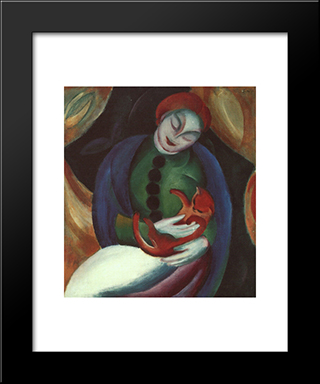 Girl With Cat Ii: Modern Black Framed Art Print by Franz Marc