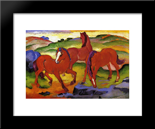 Grazing Horses Iv (The Red Horses): Modern Black Framed Art Print by Franz Marc