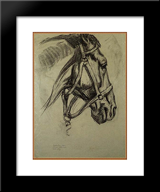 Head Of The Horse: Modern Black Framed Art Print by Franz Marc