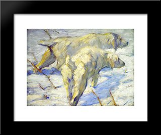 Siberian Sheepdogs: Modern Black Framed Art Print by Franz Marc
