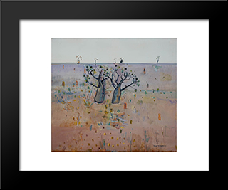 Boab Trees, Kimberley'S: Modern Black Framed Art Print by Fred Williams