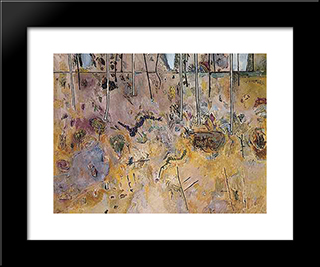 Landscape With Acacias: Modern Black Framed Art Print by Fred Williams