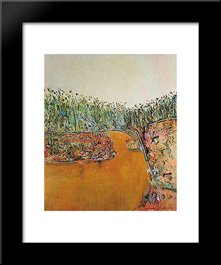 Landscape With Goose: Modern Black Framed Art Print by Fred Williams