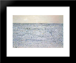 Seascape With Boat Mornington: Modern Black Framed Art Print by Fred Williams