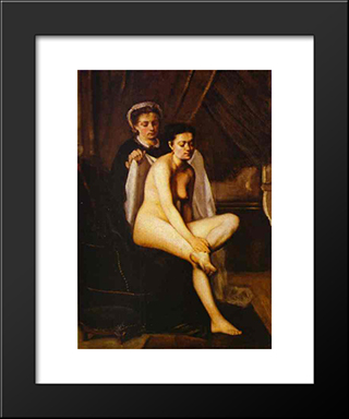 After The Bath: Modern Black Framed Art Print by Frederic Bazille