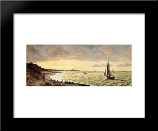 Beach At Sainte-Adresse: Modern Black Framed Art Print by Frederic Bazille