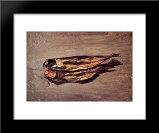 Dried Fish: Modern Black Framed Art Print by Frederic Bazille