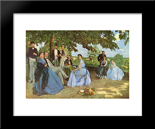 Family Reunion: Modern Black Framed Art Print by Frederic Bazille