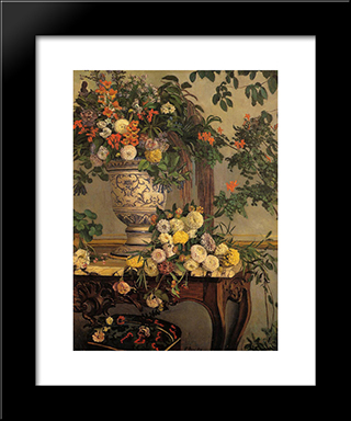 Flowers: Modern Black Framed Art Print by Frederic Bazille