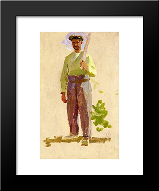Grape Picker In A Cap: Modern Black Framed Art Print by Frederic Bazille