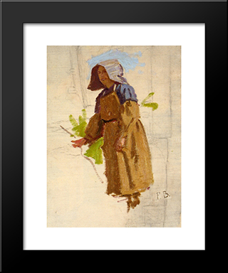 Grape Picker In A Cap I: Modern Black Framed Art Print by Frederic Bazille