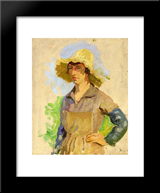 Grape Picker In A Yellow Hat: Modern Black Framed Art Print by Frederic Bazille