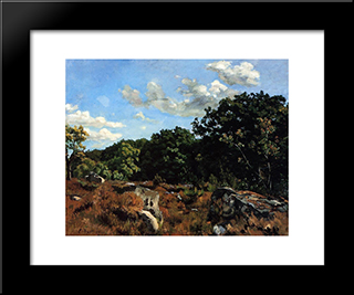 Landscape At Chailly: Modern Black Framed Art Print by Frederic Bazille