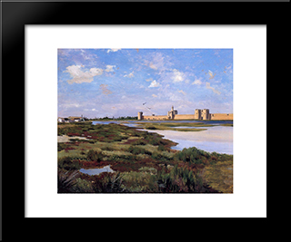 Landscape Of Aigues-Mortes: Modern Black Framed Art Print by Frederic Bazille