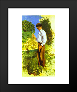 Louis Auriol Fishing: Modern Black Framed Art Print by Frederic Bazille