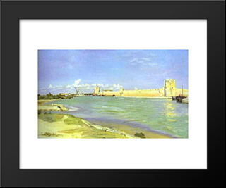Mall Of Aigues-Mortes: Modern Black Framed Art Print by Frederic Bazille