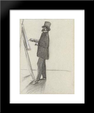 Manet And His Easel: Modern Black Framed Art Print by Frederic Bazille