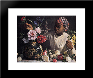 Negress With Peonies: Modern Black Framed Art Print by Frederic Bazille