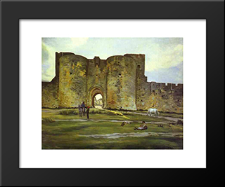 Port Of The Queen At Aigues-Mortes: Modern Black Framed Art Print by Frederic Bazille