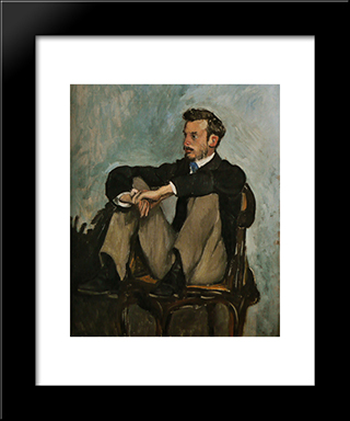 Portrait Of Auguste Renoir: Modern Black Framed Art Print by Frederic Bazille