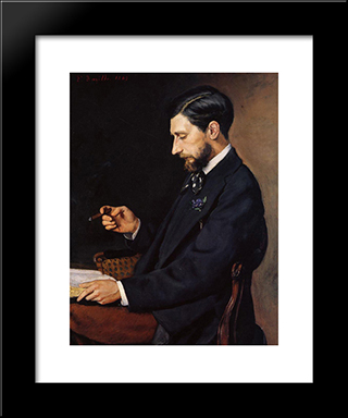 Portrait Of Edmond Maitre: Modern Black Framed Art Print by Frederic Bazille
