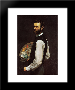 Self-Portrait: Modern Black Framed Art Print by Frederic Bazille