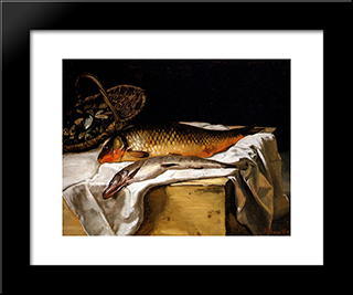 Still Life With Fish: Modern Black Framed Art Print by Frederic Bazille
